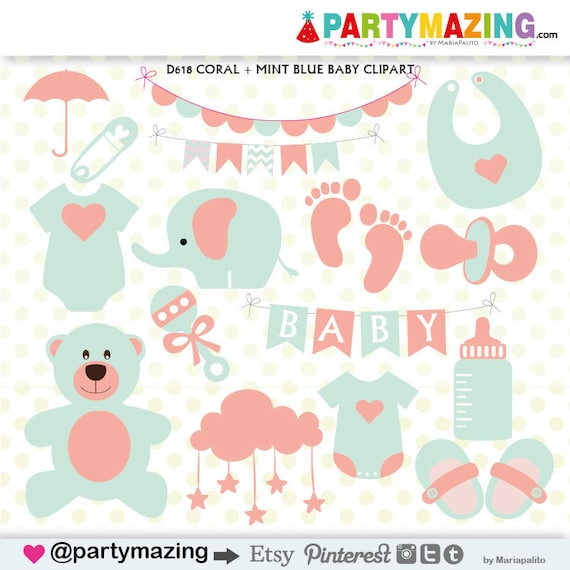 baby stuff clipart baby shower clipart coral and mint teddy rh etsy com baby clothing clipart baby stuff clipart png
