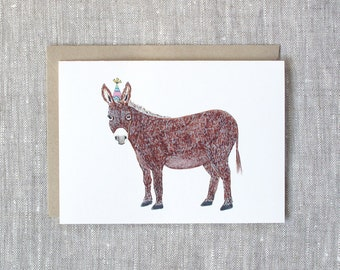 Donkey Birthday Card.  Donkey with a Party Hat.
