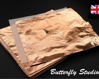 Copper Leaf Sheets x100 14x14cm Red Copper Grade A Gilding