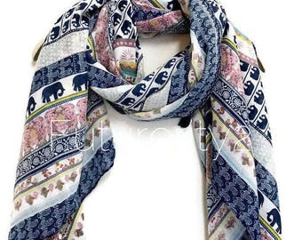 Bohemian Inspired Style Small Elephant Blue Trim With Tassel Scarf / Spring Summer Scarf / Gifts For Her / Women Scarves / Accessories / Han