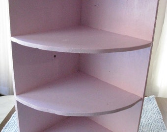 Old Plywood Corner Shelf Painted a Lovely Pink