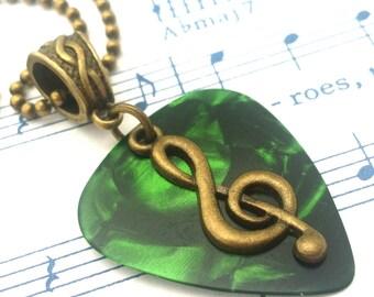 Guitar Pick Necklace - Antique Bronze - Treble Clef Necklace - Music - Unisex - Green Pick Necklace  - Guitar Pick Jewelry