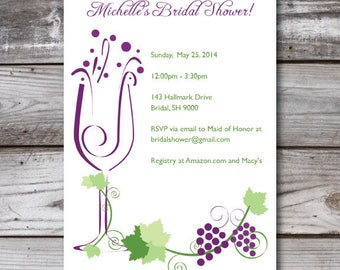 DIY Printable Wine Themed Invitations
