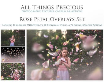35 Fine Art Digital ROSE PETAL Overlays with 6 Colour Changing Photoshop ACTIONS