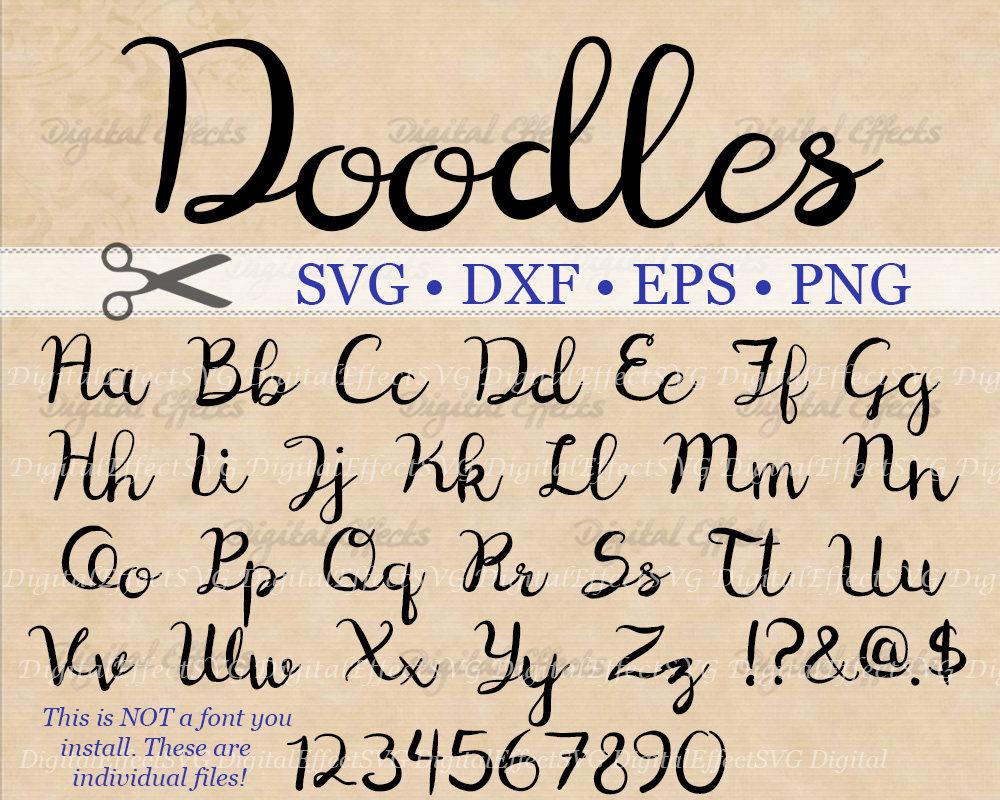 Download Doodles Cursive Monogram Svg, Dxf, Eps, Png; Cursive Font ...