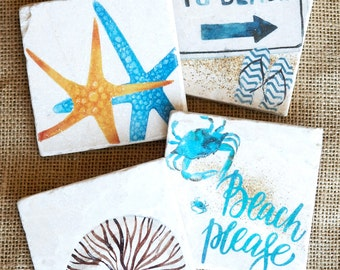 Beach Coaster- Beach Decor, Beach Gift, Starfish Decor, Nautilus Print, Beach House Gift, Coastal Decor, Beach House, Beach House Decor