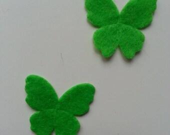 lot de 2 appliques papillons feutrine vert   22*25mm