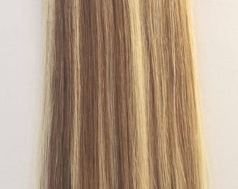 18inch 100 grams,100 strands, Nail (U) Tip Human Hair Extensions #4/613 Dark Brown with Platinum Blonde