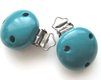Pacifier clip-teal wooden clip