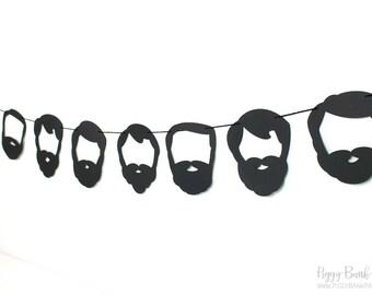 Beard Garland Kit - Black Silhouette : U-String Facial Hair Bunting | Lumberjack Party Decoration | Photo Booth Decoration | Whiskers