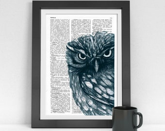 Owl Dictionary page book art print Dark Blue Owl Print on dictionary page illustration book print art BPAN023