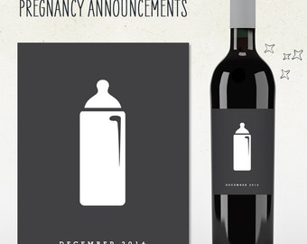 Pregnancy Announcement! Custom Wine Label (Personalized) baby bottle with due date
