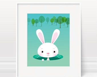 Nursery art boy, baby boys, rabbit print, children's art, Nursery print, rabbit nursery art, boys bedroom, baby boy, nursery decor, cute art