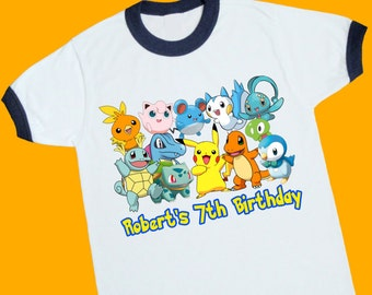 Pokemon Birthday Ringer Tee. Pokemon Personalized Birthday Shirt with Name and Age. 1st 2nd 3rd 4th 5th 6th 7th Birthday T Shirt. (25160)