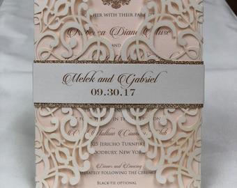 Gorgeous Peach Ivory Shimmer Lace Laser Cut Wedding Invitations Wedding Die Cut Laser Cut Ivory Laser Cut Art Deco Gatsby