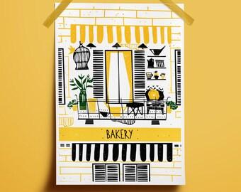 Download digital art yellow Bakery home decor Sweet bakery art Yellow decor home Warm art Home art yellow Art patisserie Home print warm