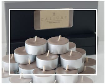 Hand Poured Large Soy and Beeswax Tealight Candles (Tealights) - Sandalwood & Musk