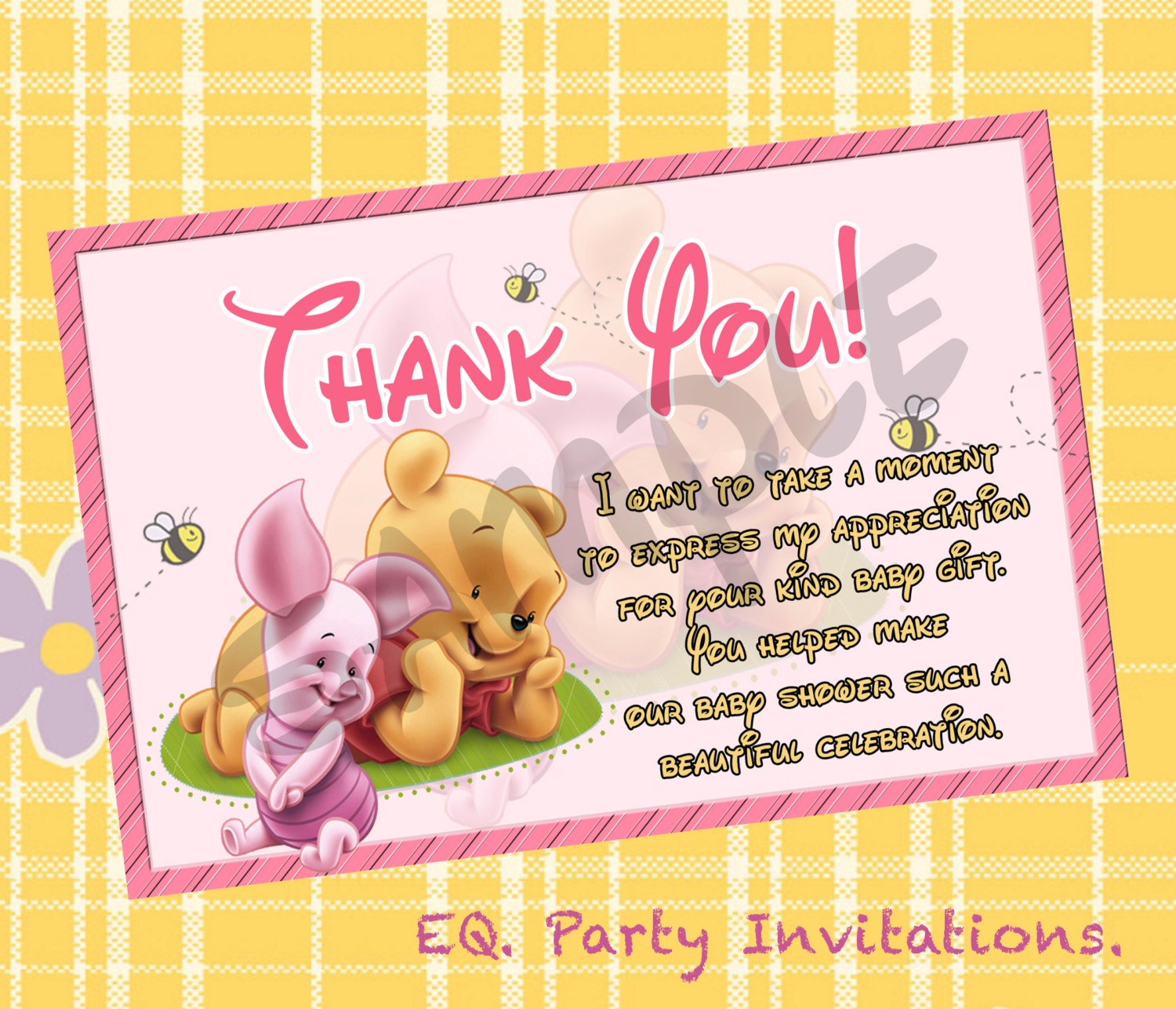 Winnie the pooh baby shower thank you card instant zoom kristyandbryce Image collections