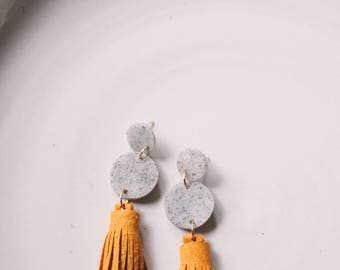 Speckled Grey & Mustard Yellow Leather Tiered Circle Tassel Earrings