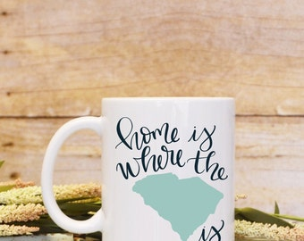 Home Is Where The SC Is South Carolina State Pride Ceramic Plastic Stainless Steel Travel Mug