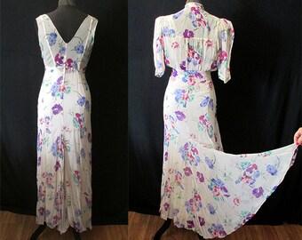 "Beautiful 1930's Bias Cut Two Piece Cream Silk Chiffon Floral Print Gown w/ Matching Jacket by ""Roy H. Bjorkman"" Old Hollywood Size-Medium"