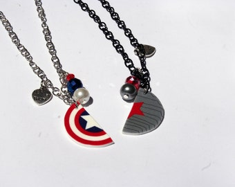 Winter Soldier Captain America Inspired Best Friend Necklaces
