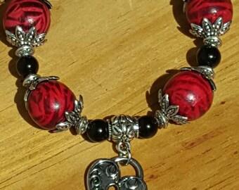 Silver, Red, Black Chunky Bracelet