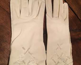 Isotoner by aris white vintage gloves