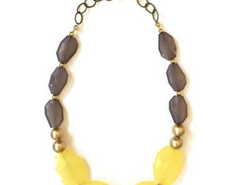 Statement Necklace - Yellow Gray Gold Necklace - Gold Statement Necklace