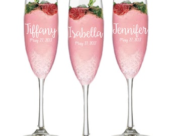 Set of 7, Wedding Bridesmaid Gifts Personalized Champange Flutes, Bridal Party Gift, Champagne Glass Bridal Shower Favor, Wedding Party Gift