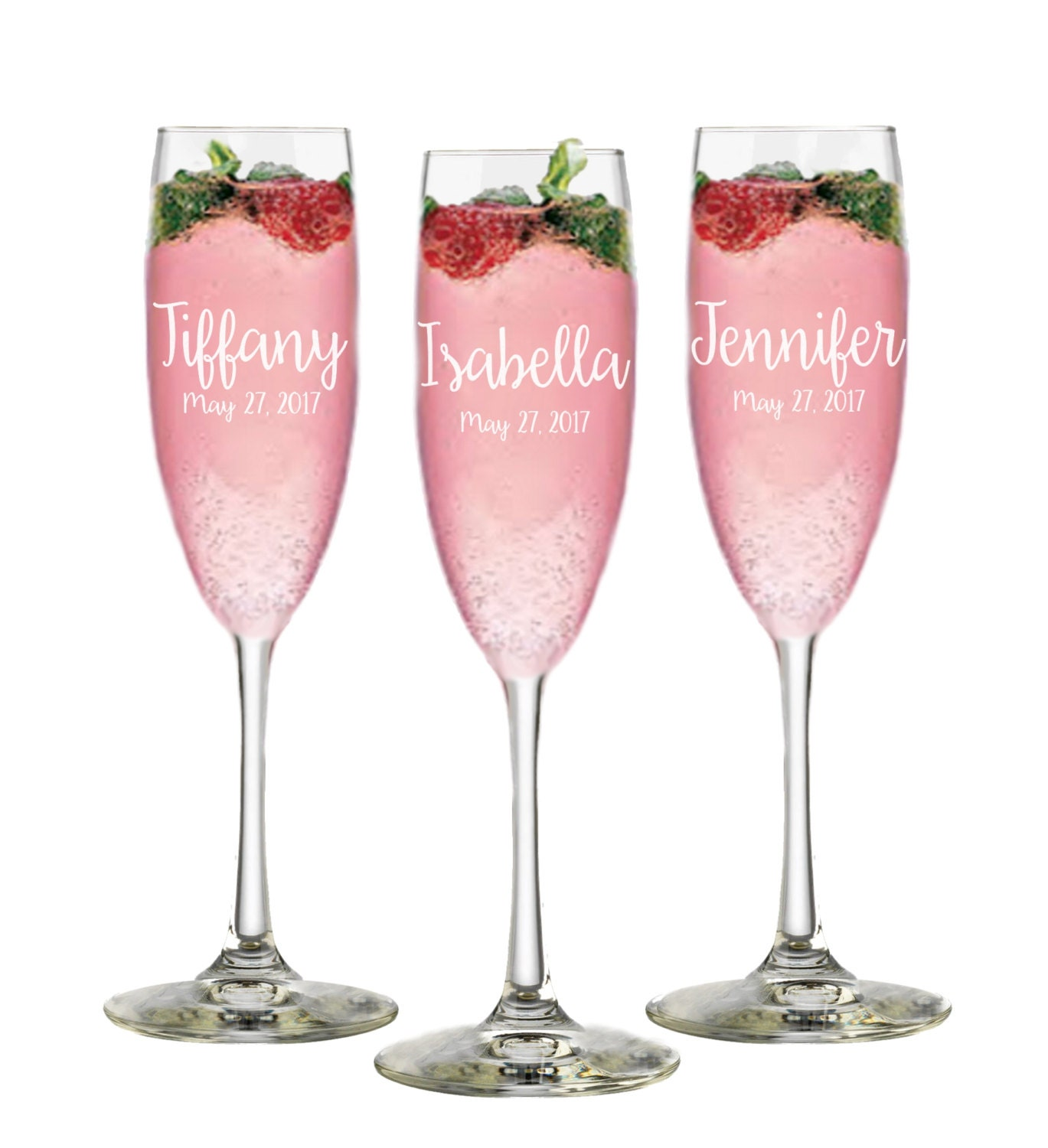 Personalized Bridesmaid Gift Champagne Flutes Wedding