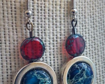 tidal earrings, red glass