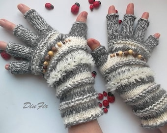 Women Size M Ready To Ship OOAK Half Fingers Wool Mohair Accessories Mittens Wrist Warmers Gloves Winter Hand Knitted Striped Arm Gray 114