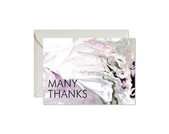 MANY THANKS Dark Violet + Green/Grey Marble Notecards + Envelopes Pack   Boxed Set (8)   Abstract   Modern   Fresh