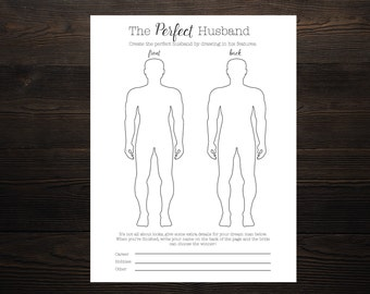Draw the Perfect Husband Bridal Shower Bachelorette Game Instant Download File