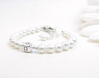 Personalized Bracelet for Newborn Infant Baby Little Girl - Pearl Baby Bracelet - Flower Girl Bracelet - Girl Initial Monogram Bracelet
