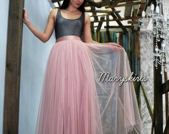 Floor-length tulle skirt fixed waistband with hidden zipper (color - Powder)