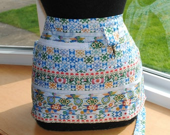 Handmade Vendor Apron Server Apron Blue Quilter Apron Teacher Apron Utility Craft Farmers Market Teacher