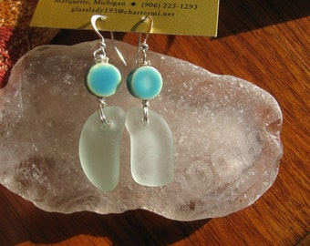 Dangly Aqua Blue Lake Superior Beach Glass Earrings w/ Blue bead