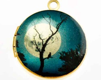 Photo Locket, Image Locket, Art Locket, Picture Locket, Brass Locket - BLUE Moonlit TREE