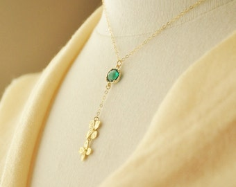 Gold Hydrangea Necklace- Gold Necklace, Dainty Y Necklace, Delicate Gold Necklace, Flower Necklace, Layering Necklace, Green Stone Neck