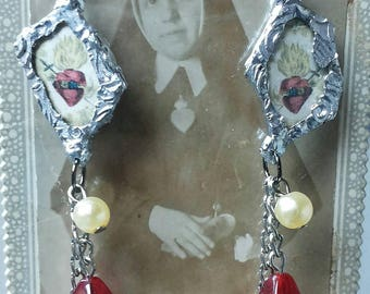 Coeur de Marie. Sacred heart soldered earrings.