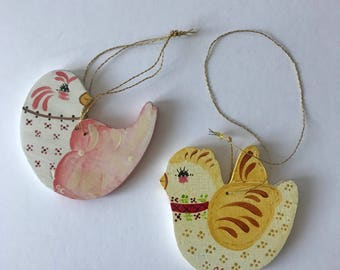 Vintage Hand Painted Easter Chic Wooden Ornaments