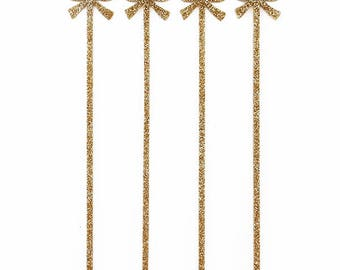 Gold Glitter Bow Drink Stirrers