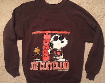Joe Cleveland! 1970s vintage rare Snoopy sweater sweat shirt crewneck size large artex Original NFL retro shirt Jim Brown Joe Browns