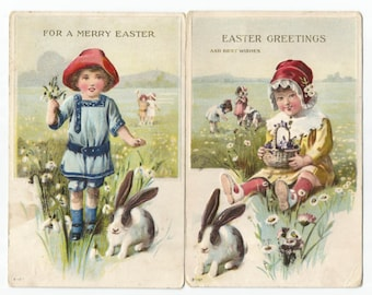 Antique Easter postcards - Girls with bunnies - ca 1920s
