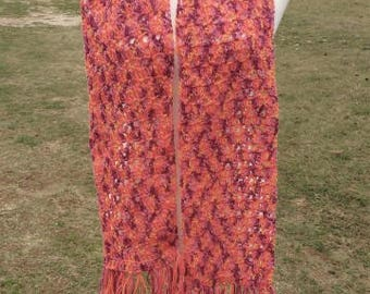Orange and lilac crochet scarf for women
