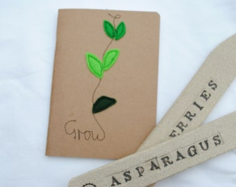 A6 notebook/sketchbook with handmade machine embroidery textile design felt 'Grow' plant perfect for gardeners notes