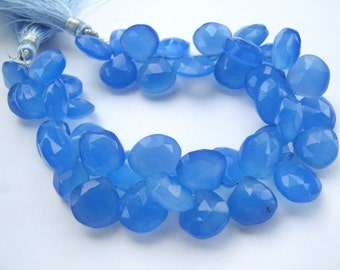 Chalcedony Gemstone. Faceted Heart Briolette, Blue, 11mm.Semi Precious Gemstone Briolette. Packet of 1 to 15 Briolettes (Hch1)