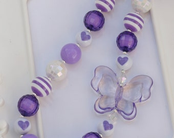 Chunky Style Purple Butterfly Necklace, Purple butterfly necklace, butterfly, gumball necklace